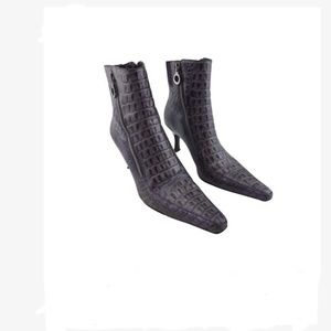 Donald J Pliner Purple Gator Embossed Ankle Boots
